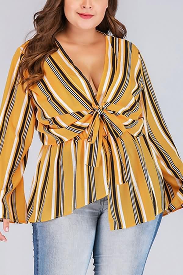 Orange Stripe Print V Neck Tied Flare Sleeve Casual Plus Size Blouse