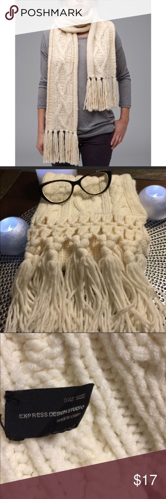 EUC Chunky Cable Knit Scarf by Express Comfy Cozy EUC Chunky Cable Knit Scarf by Express in a luxurious cream color. Express Accessories Scarves & Wraps