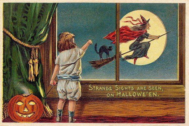"""Сара Тисдейл """"Осенние сумерки"""" """"Луна вверху, как ятаган, Блестящий белый ятаган, Плывет в вечерний час, А рядом с ней горит звезда, Такая робкая звезда, Как будто желтый глаз"""" Иллюстрация: старинная открытка, авторка неизвестна."""