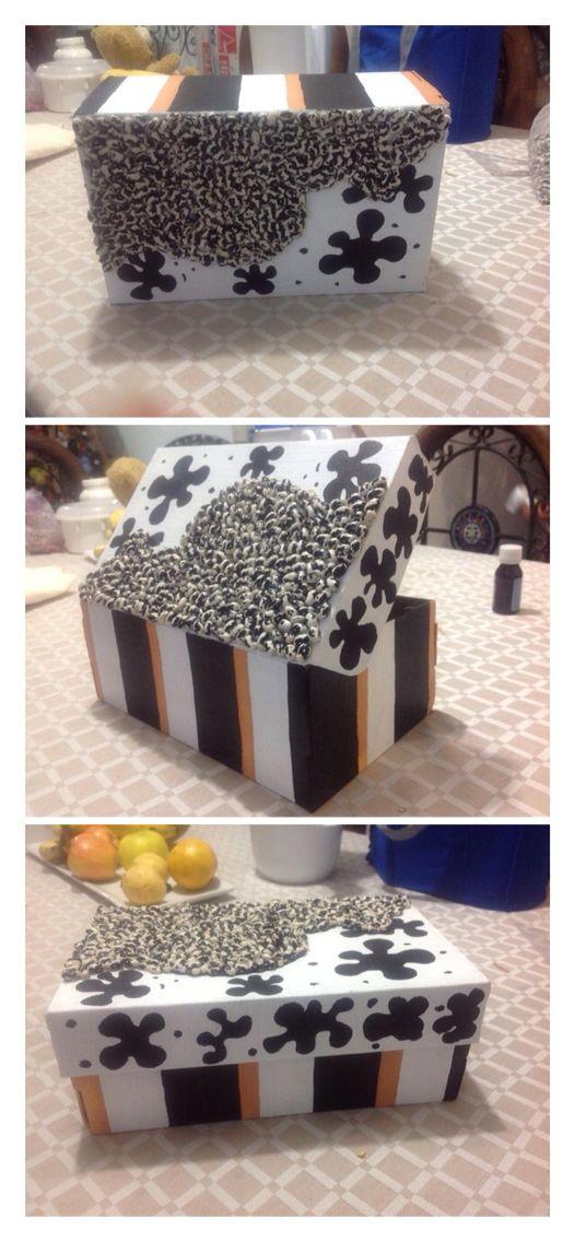 Caja de zapatos decorada con frijoles y pintura vin lica - Cajas de zapatos decoradas ...