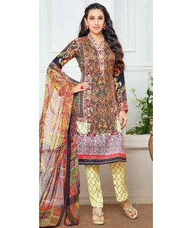 Greasy Black And Multi-Color Pashmina Straight Suit.