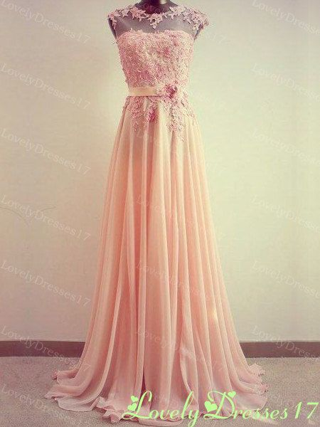 Amazing Light Coral Lace Aline Round Neckline by LovelyDresses17