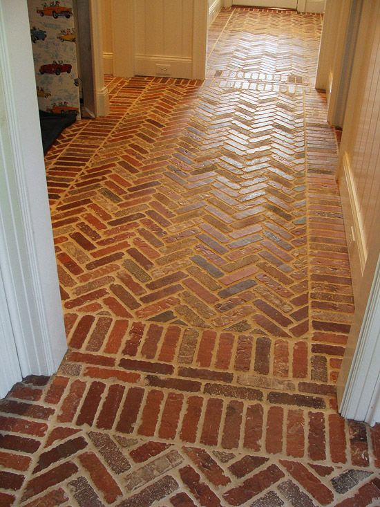 "MUDROOM FLOOR - Thin ""English Pub"" brick brings instant, cost-effective Old World charm to any space. Use it on floors and walls, and it looks great in the kitchen, mudroom, wine cellar, or billiards room."