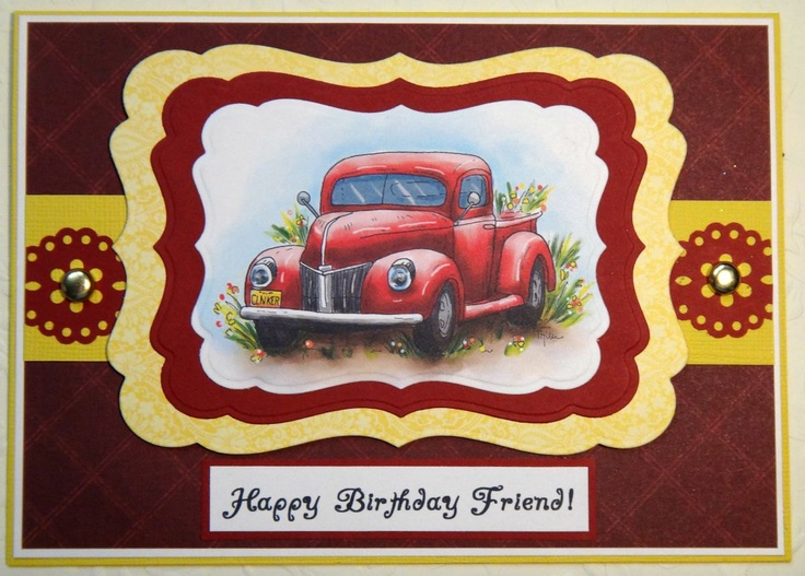 44 best car cards images on pinterest diy cards man card and happy birthday friend old truck masculine birthday handmade greeting card 500 bookmarktalkfo Image collections