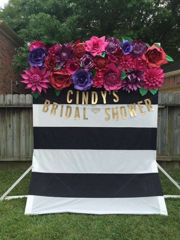 Bridal shower paper flower photo backdrop | Catchmyparty.com