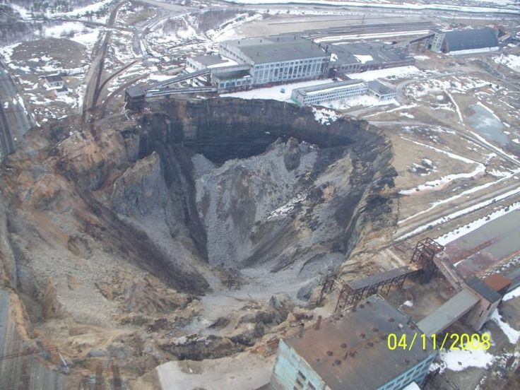 This sink hole occurred in Russia, as part of a coal mine collapsed.,,,,this should be telling us something ,,,,coal,,,oil,,,fracking,,,