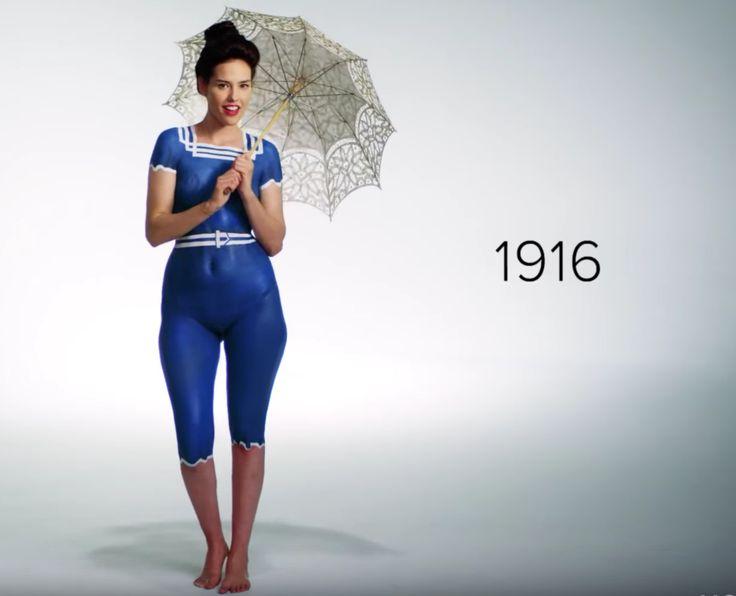 Un viral recrea 100 años de trajes de baño con 'bodypainting'