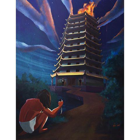Tarzan in china! Thanks to tycarter's sessions #art #painting #digitalart #digitalpainting #illustration #procreate #tarzan #stealth #fight #china #tower #night #knife #هنر # #نقاشي #طراحي#conceptart #drawing #creative #instaart #instaartist