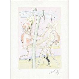 """Salvador DALI - Lithographie Originale """"Le Bestiaire de la Fontaine, Le singe et le léopard""""  : Galerie 125"""