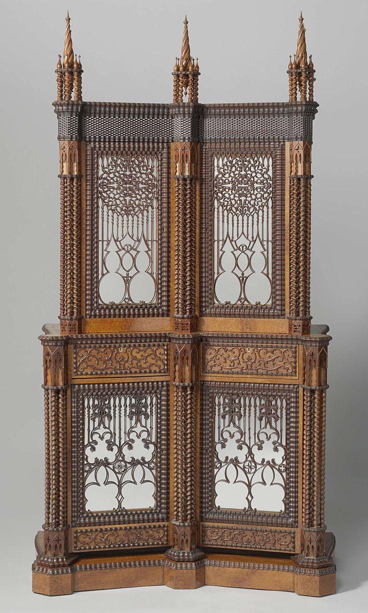 Gothic Revival Silver Cabinet, Jan Adolf Hillebrand, 1844