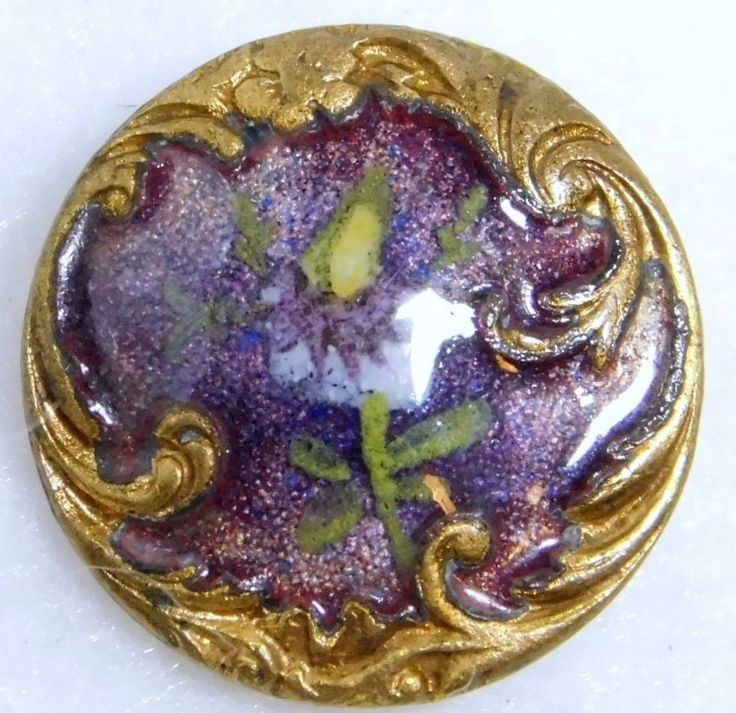 SMALL ANTIQUE French GIN BARI ENAMEL BUTTON Paris BACK #916