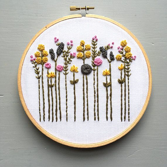 Floral Hoop Art Wildflower Hand Embroidery Embroidered