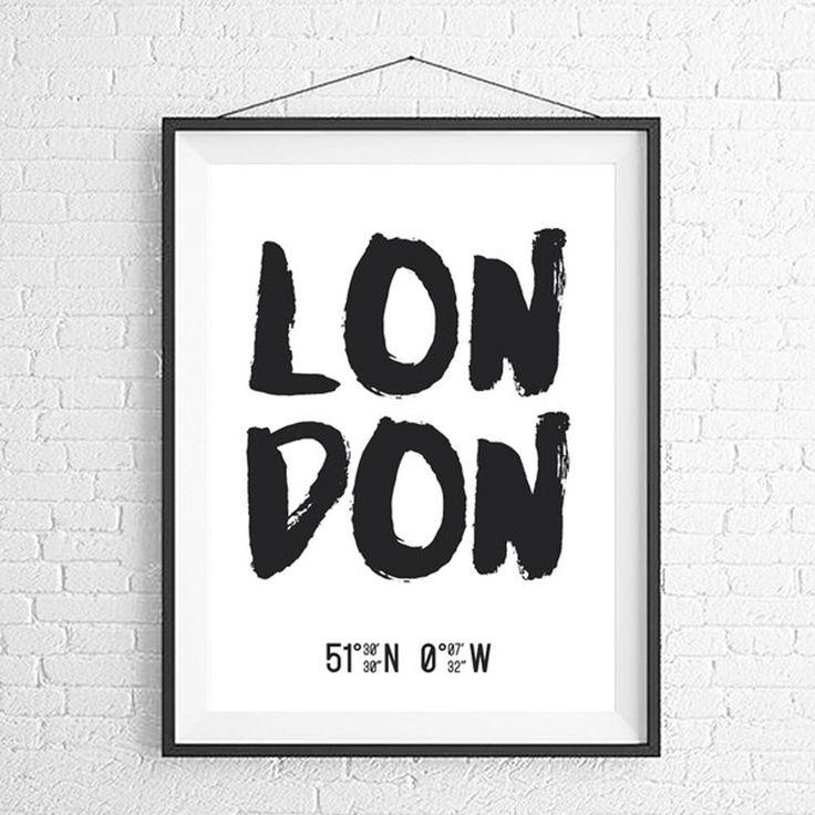 Лондон Широта и усилитель;  Долгота - Искусство печати - Город Тематический Искусство