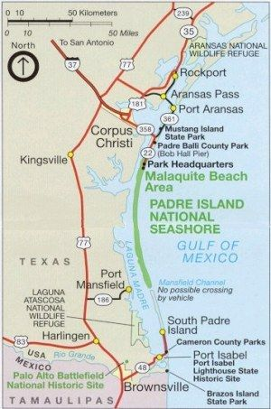 Padre Island National Seashore Map