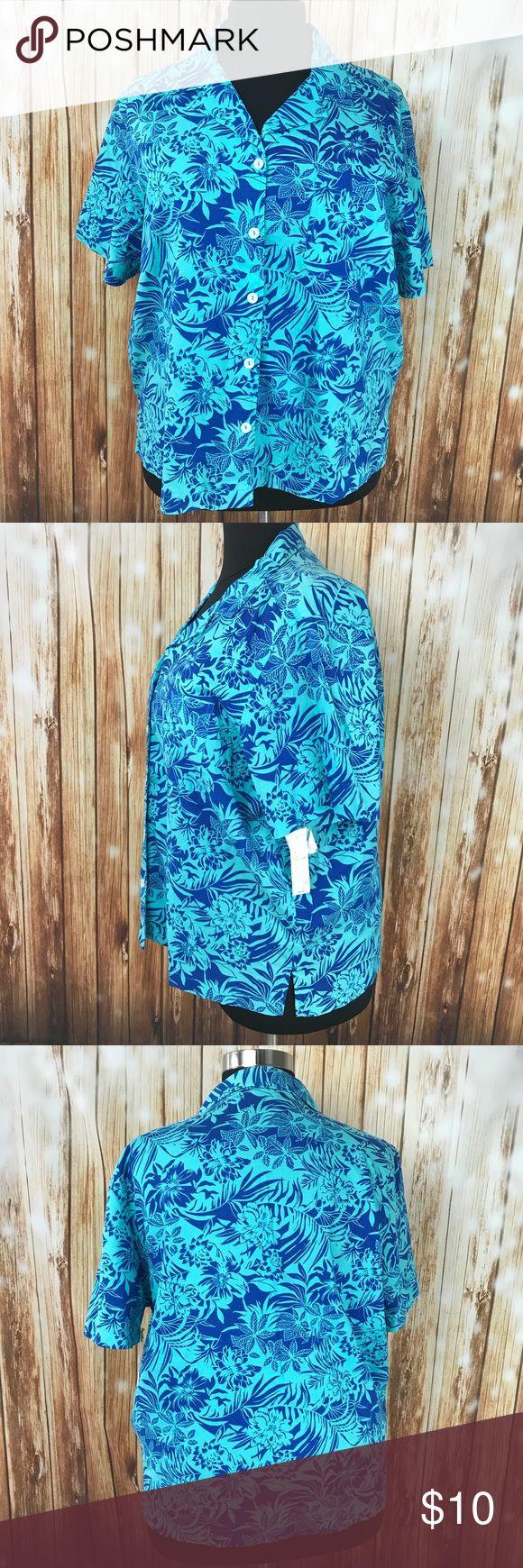 "2X Blue Hawaiian Shirt floral aqua palm tree New! New with tags shirt. Erika Woman size 2X. Blue Hawaiian shirt. Extra button included. Underarm to underarm 26"". Shoulder to hem 25"". 🏝Aloha! 🏝 Erika Tops Button Down Shirts"