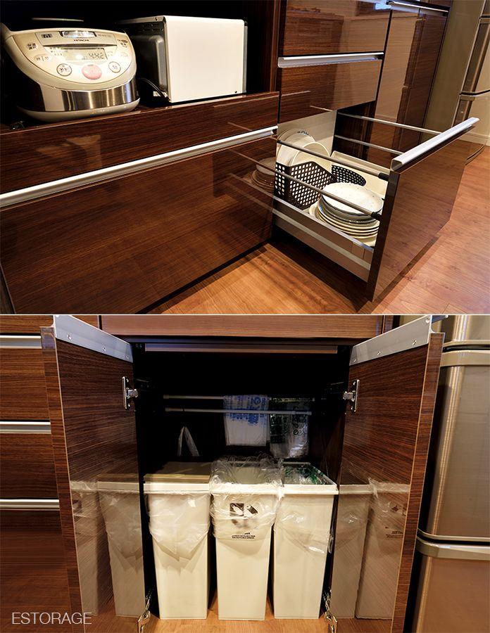 ゴミ箱収納は扉付き ゴミ箱は床置きなので お手入れや出し入れが便利