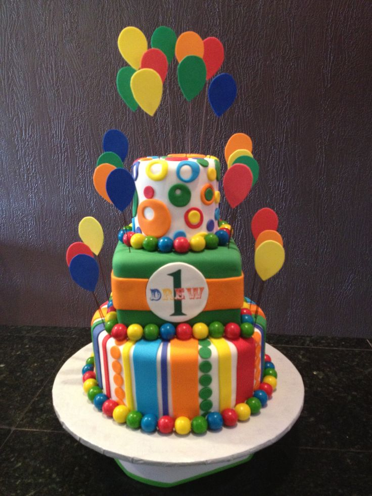 Circus theme birthday cake rainbow colors balloons for Balloon cake decoration