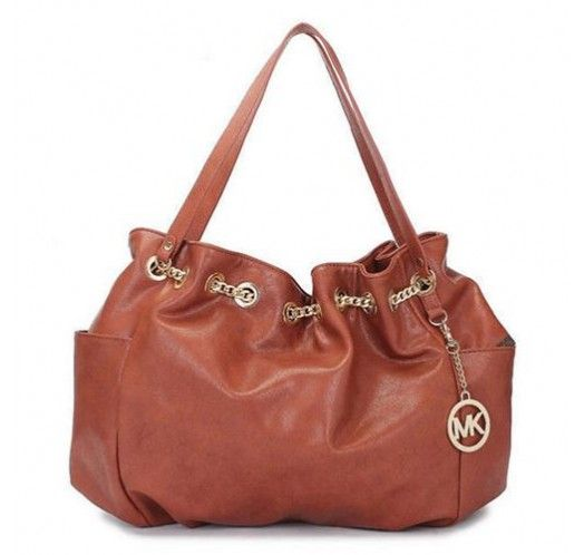 Michael Kors Chain Ring Large Brown Shoulder Bags [mk_1667]