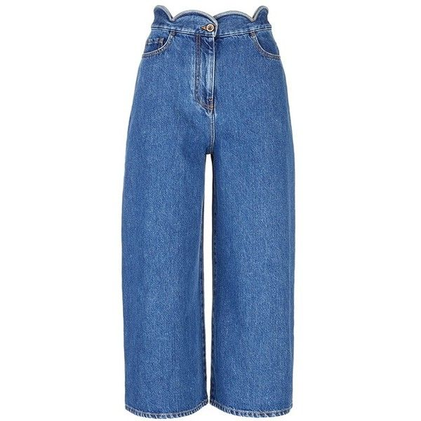 Valentino Scalloped wide leg cropped jeans ($971) ❤ liked on Polyvore featuring jeans, blue, wide leg denim jeans, wide leg blue jeans, cropped denim jeans, relaxed fit jeans and denim jeans