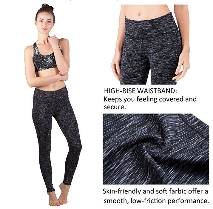 Queenie Ke Women Power Flex Yoga Pants Workout Running Tights Plus Size Leggings Size XS Color Black Grey Space Dye: Amazon.ca: Clothing & Accessories