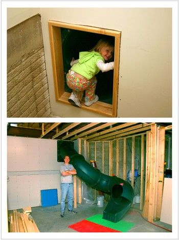 Secret slide to the basement- that's awesome!