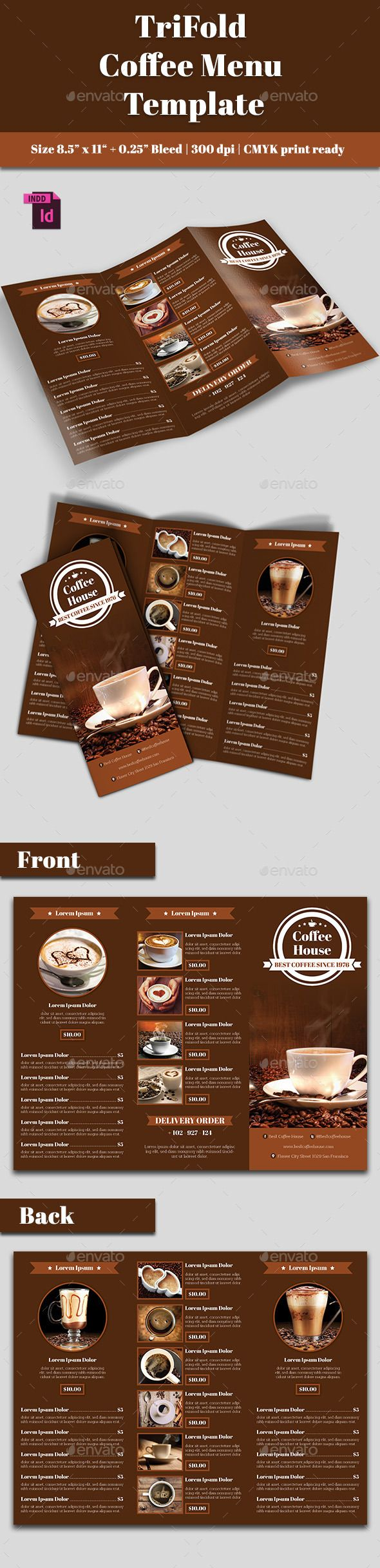 TriFold Coffee Menu — InDesign INDD #coffee shop #print • Available here → https://graphicriver.net/item/trifold-coffee-menu/10794145?ref=pxcr