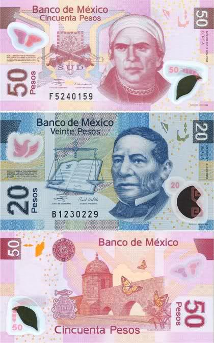 """When I left Mexico City this was the way our bills looked """"peso"""""""