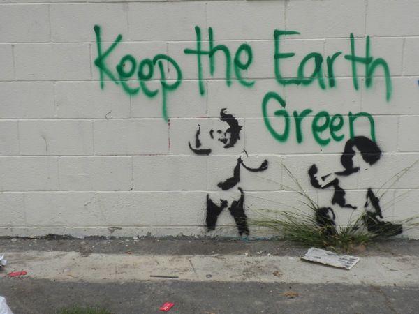 """Keep the Earth Green"", Street Art from Venice Beach"