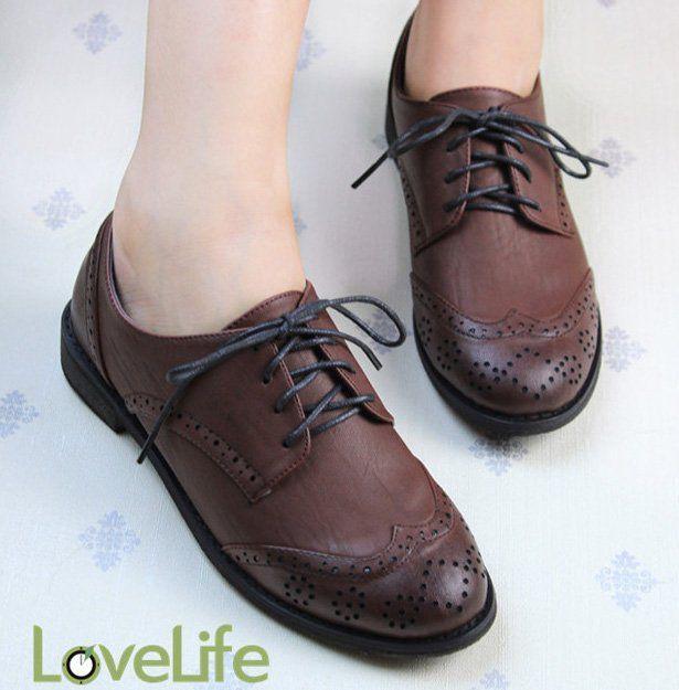 Туфли-оксфорды женские. Коричневые, но эффектные.
