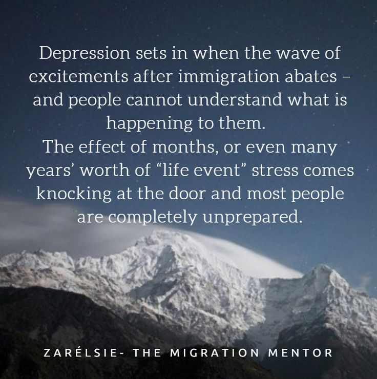 "Depression sets in when the wave of excitements abates – and people cannot understand what is happening to them.  The effect of months, or even many years' worth of ""life event"" stress comes knocking at the door and most people are completely unprepared."