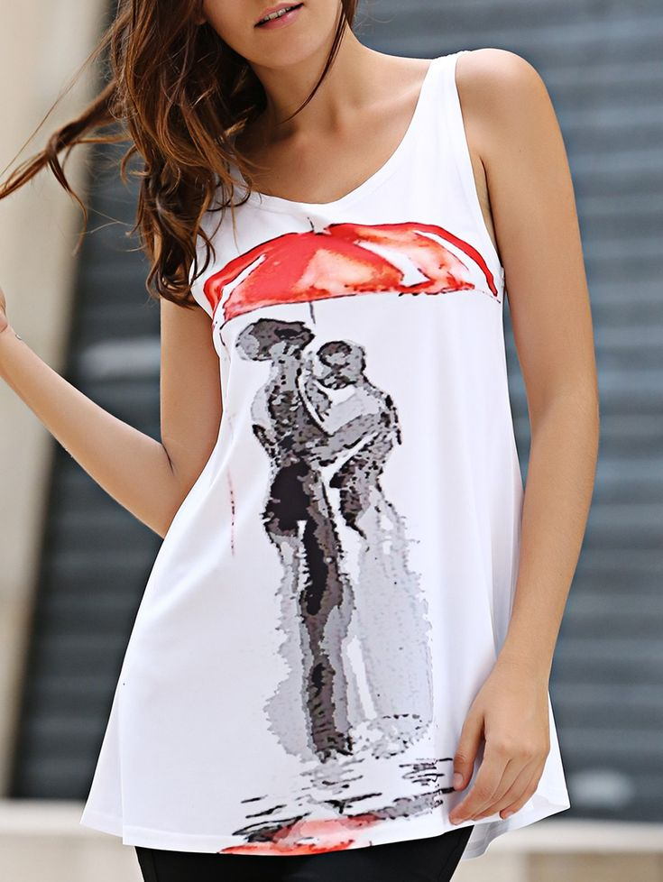 Concise Scoop Neck Red Umbrella Print Long Tank Top For Women #jewelry, #women, #men, #hats, #watches, #belts, #fashion
