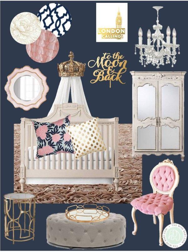 #RoyalBaby Charlotte inspired this Royal Nursery, royal nursery, princess nursery, navy pink and gold nursery, royal baby nursery inspiration