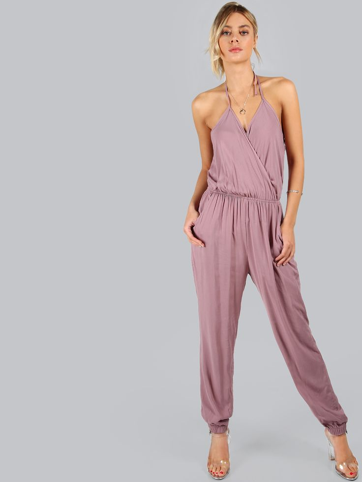 Shop Plunging Halter Jumpsuit MAUVE online. SheIn offers Plunging Halter Jumpsuit MAUVE & more to fit your fashionable needs.
