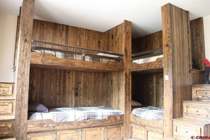 Rustic Kids Bedroom with Bunk beds Builtin bookshelf