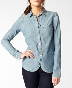 This is a more preppy-style denim shirt.  Still a great basic