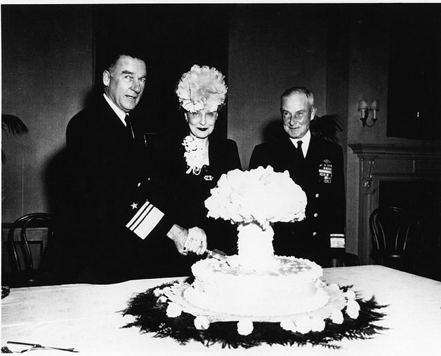 Cake to celebrate the success of the atomic testing program, 1946. You cannot make this stuff up.