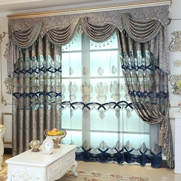 European Valance Luxury Embroidered Blackout Curtains Window Drapes Dekorasi Rumah Desain Rumah