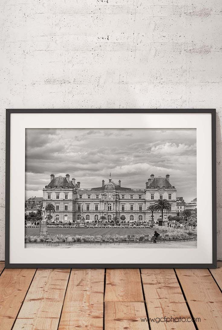 Black & white Paris Luxembourg Palace art print for walls. Click through now and get $5 off today with code 5OFFTODAY at checkout!
