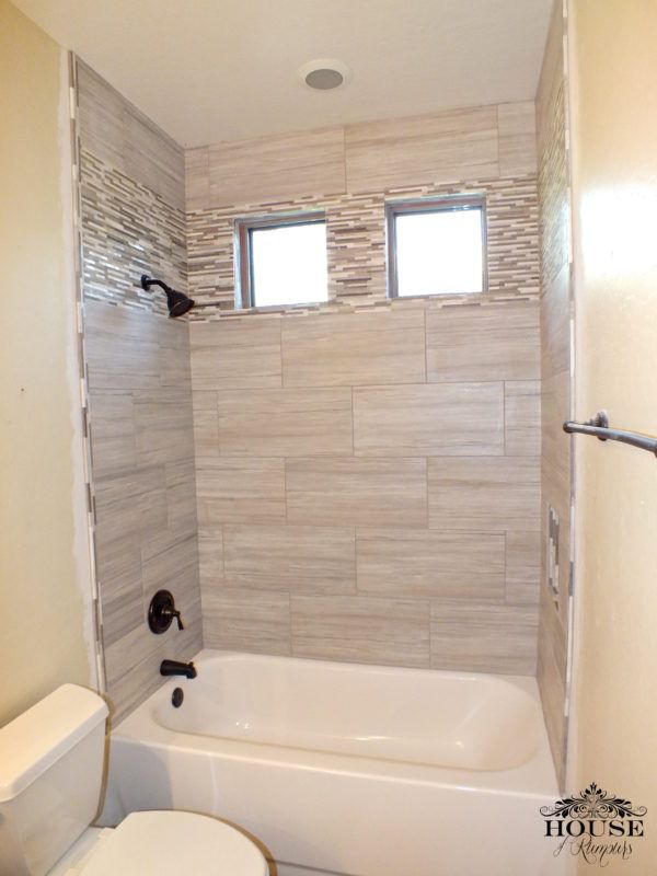 Love this bathroom 12 x 24 Greige porcelain tile  Future Home in 2019  Bathroom Bathroom