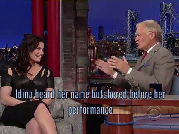 Idina heard her name butchered before her performance #CBS #LateShowWithDavidLetterman #ConnecTV