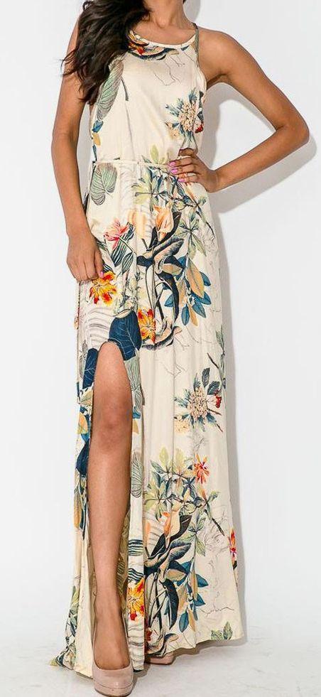 Multicolor Floral Leaves Print Split Side Maxi Dress Tropical