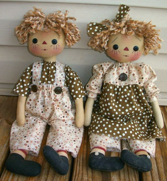 Primitive Raggedy Twins Doll PDF EPattern  Sewing by appleorchards, $5.00