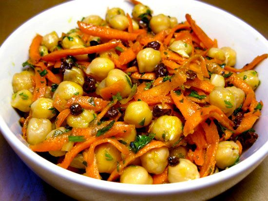 "Chickpea, Carrot, and Currant Salad - per Fitsugar ""For a high-protein lunch or dinner, mix up this quick recipe made with chickpeas, currants, shredded carrots, fresh cilantro, caraway and coriander seeds, and a touch of cayenne. The carrots give it a wonderful crunchy texture, and the currants add a touch of sweetness. This dish is delicious on its own or topped on your garden salad."""
