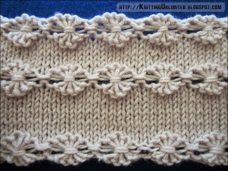 How to: Flower stitch: The first way. - With yarn in back, slip the next 5 sts to a cable needle purlwise dropping the extra wraps. - Wrap the yarn around the...