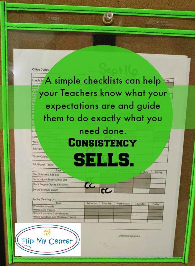 Consistency Sells, Preschool Checklist, Daycare Consistency, Preschool Consistency