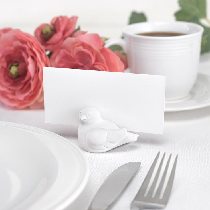 silver heart wedding place card holders%0A Love Birds Wedding Place Card Holder Set includes six place card holders   Each one is