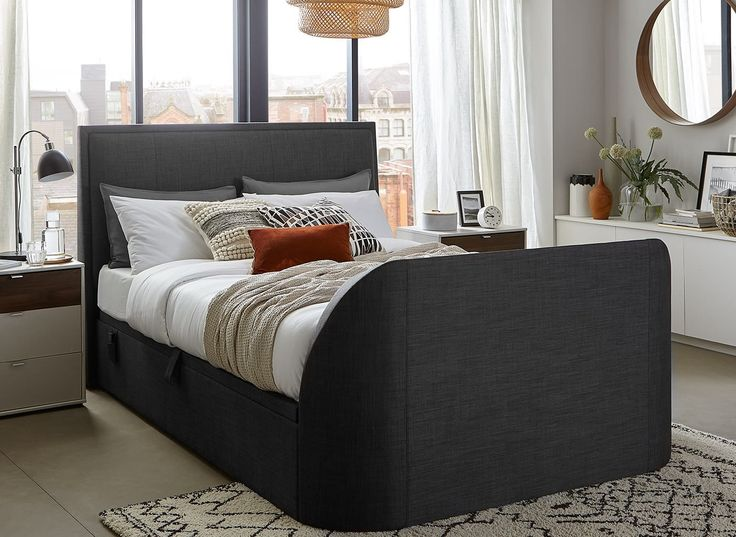 Our Alexander TV Ottoman bed frame is available in oatmeal or slate grey fabric with a brand new TV included, perfect for the style conscious.