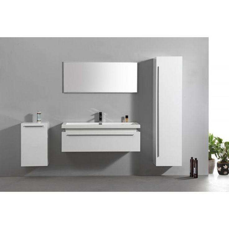 Meubles de salle de bains N1200 blanc – en option miroir et armoire murale: Sans meuble mural de droite, Avec meuble mural de gauche, Avec armoire de
