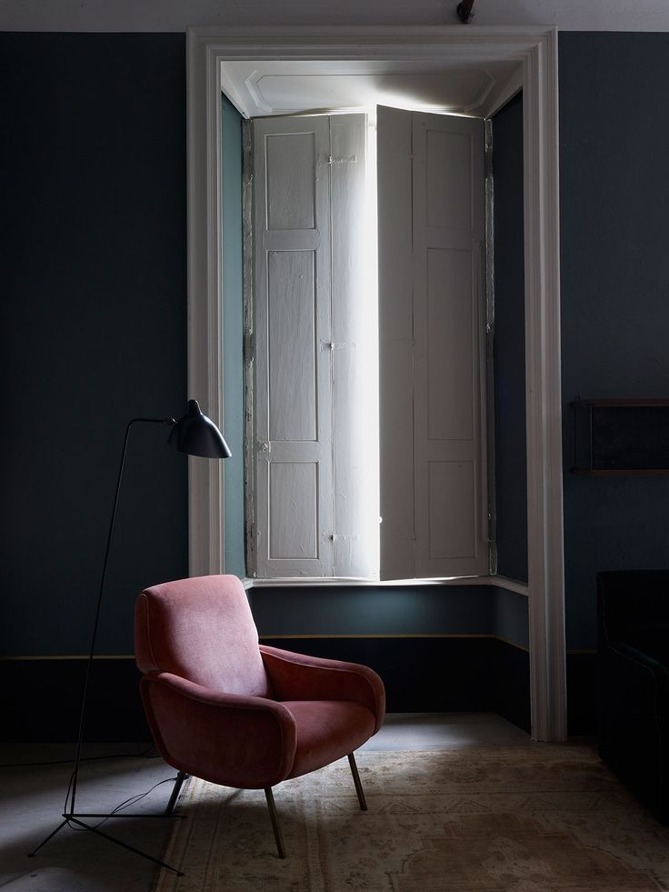 "scandinaviancollectors: ""Interior design by Dimore Studio, photograph by Henry Bourne: Serge Mouille tripod floor light ca.1950s and Marco Zanuso´s Lady armchair by Artflex, 1951. / Yellow Trace """