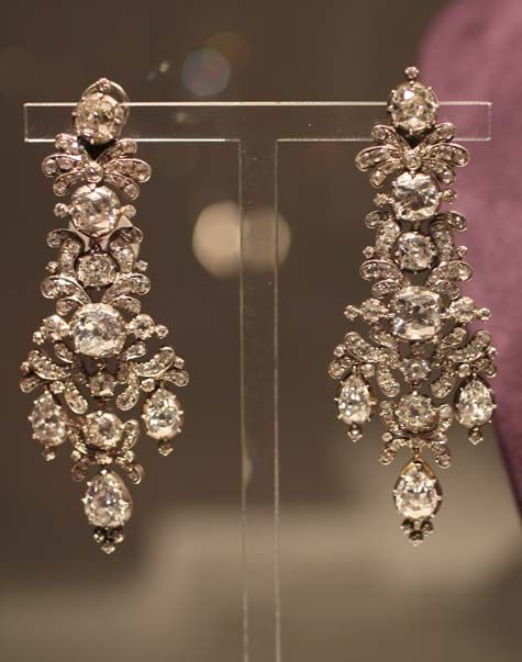 A pair of antique diamond earrings from ELIZABETH TAYLOR'S JEWELRY